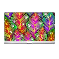 Bubbles Colorful Leaves Business Card Holders by AnjaniArt