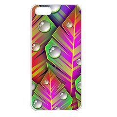 Bubbles Colorful Leaves Apple Iphone 5 Seamless Case (white) by AnjaniArt