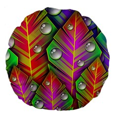 Bubbles Colorful Leaves Large 18  Premium Flano Round Cushions by AnjaniArt