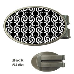 Black And White Pattern Money Clips (oval)  by Valentinaart