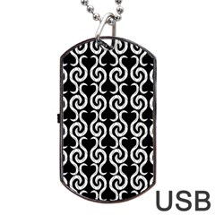 Black And White Pattern Dog Tag Usb Flash (two Sides)  by Valentinaart