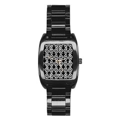 Black And White Pattern Stainless Steel Barrel Watch by Valentinaart