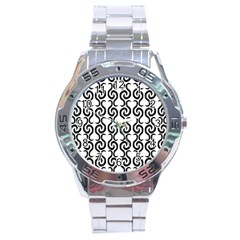 White And Black Elegant Pattern Stainless Steel Analogue Watch by Valentinaart