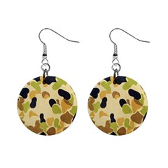 Camouflage Pattern Army Mini Button Earrings