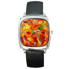Colorful Fall Leaves Square Metal Watch by AnjaniArt