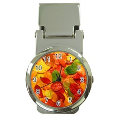 Colorful Fall Leaves Money Clip Watches by AnjaniArt