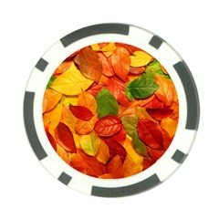 Colorful Fall Leaves Poker Chip Card Guards (10 Pack)  by AnjaniArt