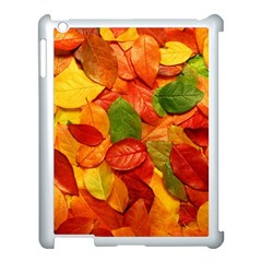 Colorful Fall Leaves Apple Ipad 3/4 Case (white) by AnjaniArt