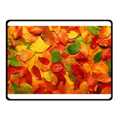 Colorful Fall Leaves Double Sided Fleece Blanket (small)  by AnjaniArt