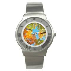 Colorful Leaves Sky Stainless Steel Watch by AnjaniArt