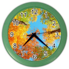 Colorful Leaves Sky Color Wall Clocks by AnjaniArt