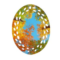 Colorful Leaves Sky Oval Filigree Ornament (2-Side)  by AnjaniArt
