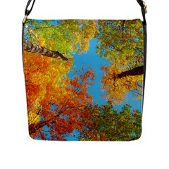 Colorful Leaves Sky Flap Messenger Bag (l)  by AnjaniArt