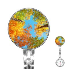 Colorful Leaves Sky Stainless Steel Nurses Watch by AnjaniArt