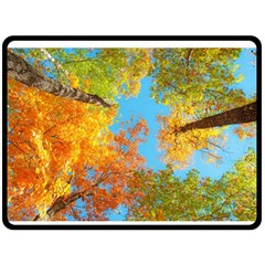 Colorful Leaves Sky Double Sided Fleece Blanket (large)  by AnjaniArt