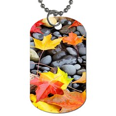 Colorful Leaves Stones Dog Tag (two Sides) by AnjaniArt