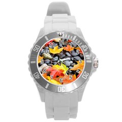 Colorful Leaves Stones Round Plastic Sport Watch (l) by AnjaniArt