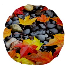 Colorful Leaves Stones Large 18  Premium Flano Round Cushions by AnjaniArt