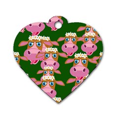 Cow Pattern Dog Tag Heart (one Side) by AnjaniArt