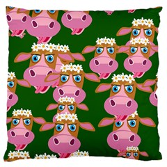 Cow Pattern Large Flano Cushion Case (one Side) by AnjaniArt