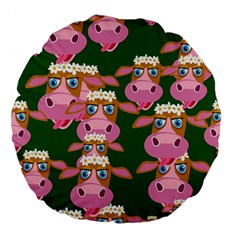 Cow Pattern Large 18  Premium Flano Round Cushions by AnjaniArt