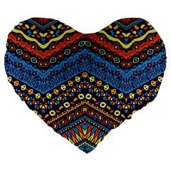 Cute Hand Drawn Ethnic Pattern Large 19  Premium Heart Shape Cushions by AnjaniArt