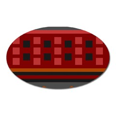 Red Aztec Oval Magnet
