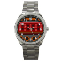 Red Aztec Sport Metal Watch