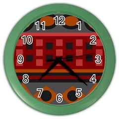 Red Aztec Color Wall Clocks by AnjaniArt