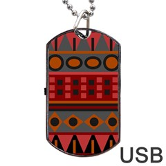 Red Aztec Dog Tag USB Flash (One Side) by AnjaniArt