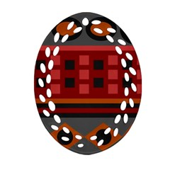 Red Aztec Oval Filigree Ornament (2-Side)  by AnjaniArt