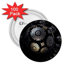 Fractal Sphere Steel 3d Structures  2.25  Buttons (100 pack)  by Zeze