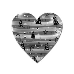 Gray Xmas Magic Heart Magnet by Valentinaart