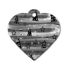 Gray Xmas Magic Dog Tag Heart (one Side) by Valentinaart