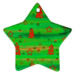 Green Xmas Magic Ornament (star)  by Valentinaart