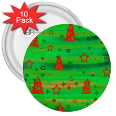 Green Xmas Magic 3  Buttons (10 Pack)  by Valentinaart