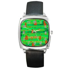 Green Xmas Magic Square Metal Watch by Valentinaart