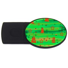Green Xmas Magic Usb Flash Drive Oval (4 Gb)  by Valentinaart