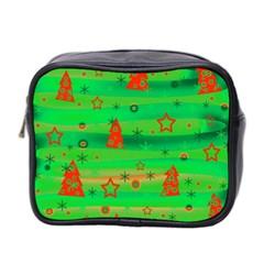 Green Xmas Magic Mini Toiletries Bag 2 Side by Valentinaart
