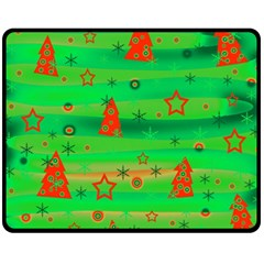 Green Xmas Magic Fleece Blanket (medium)  by Valentinaart