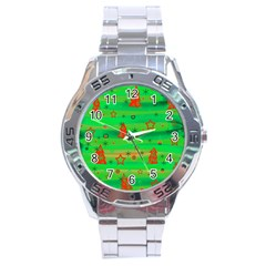 Green Xmas Magic Stainless Steel Analogue Watch by Valentinaart