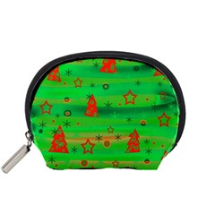 Green Xmas Magic Accessory Pouches (small)  by Valentinaart