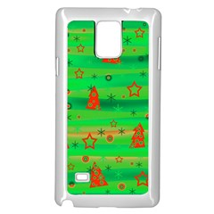 Green Xmas magic Samsung Galaxy Note 4 Case (White) by Valentinaart