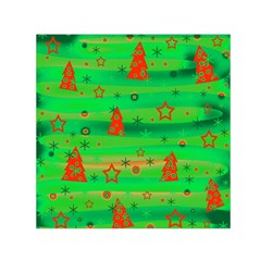 Green Xmas Magic Small Satin Scarf (square) by Valentinaart