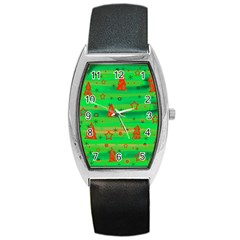 Xmas Magical Design Barrel Style Metal Watch by Valentinaart