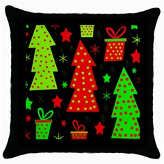 Merry Xmas Throw Pillow Case (black) by Valentinaart