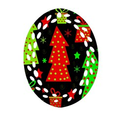 Merry Xmas Ornament (oval Filigree)  by Valentinaart