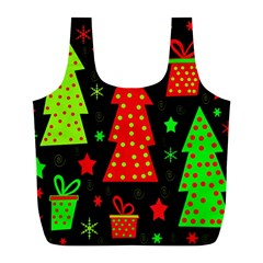 Merry Xmas Full Print Recycle Bags (l)  by Valentinaart