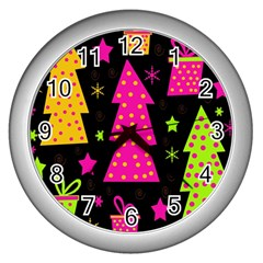 Colorful Xmas Wall Clocks (silver)  by Valentinaart