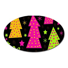 Colorful Xmas Oval Magnet by Valentinaart